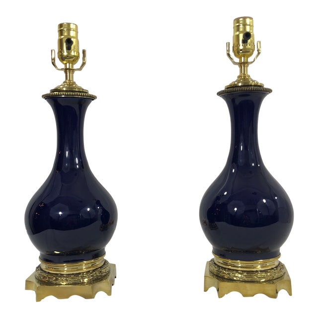19th Century Pair of Napoleon III Blue Glazed Oil Lamps With Bronzed Mounts For Sale