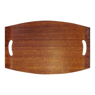 Rectangular Modern Teak Wood Serving Bar Tray With Handles For Sale