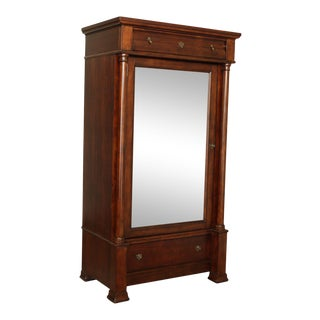 Bassett Empire Style Cherry Mirror Door Armoire For Sale