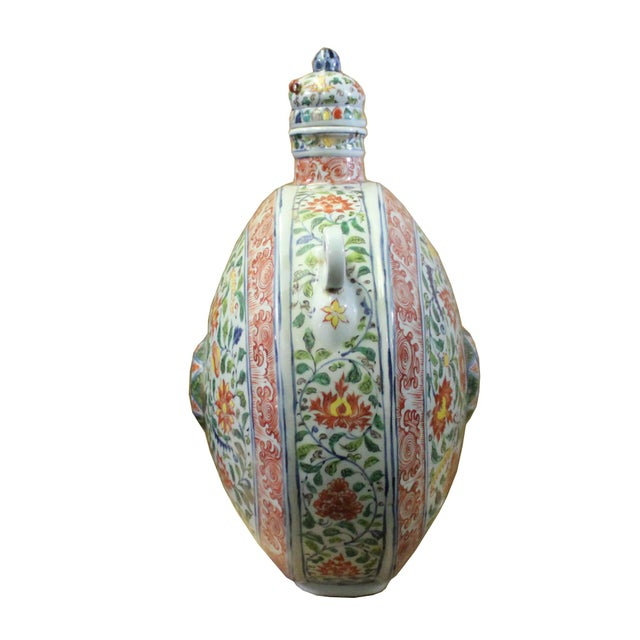 Chinese Handmade Multi-Color Flower Porcelain BaoYue Pot Jar For Sale - Image 4 of 8