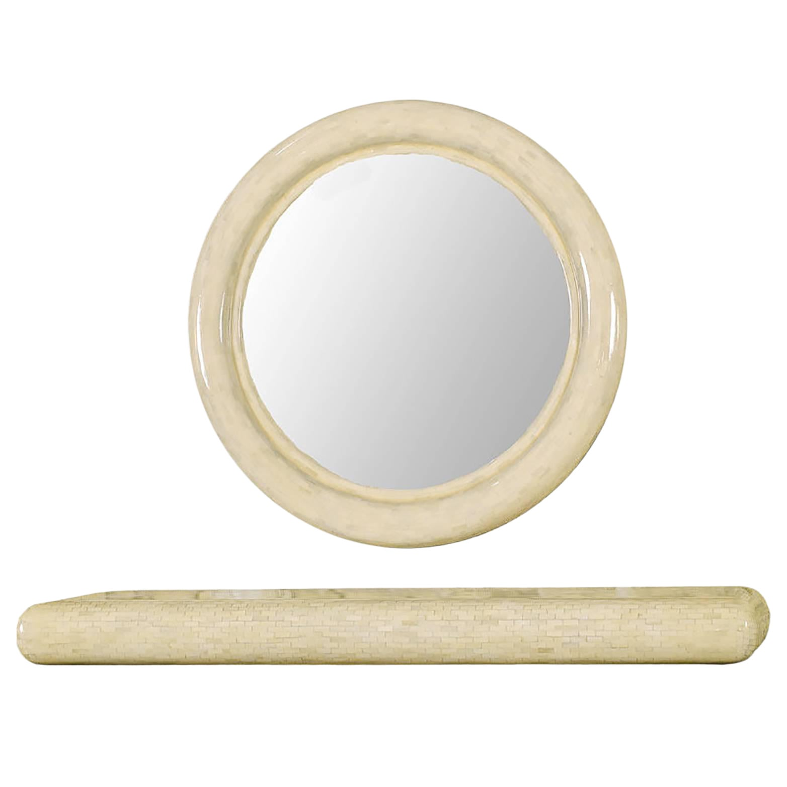 Round Tessellated Bone Mirror With Wall Mounted Console Table Chairish