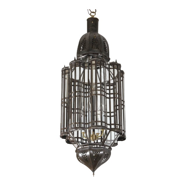 Large-Scale Moroccan Moorish Pendant Chandelier, Metal and Clear Glass For Sale