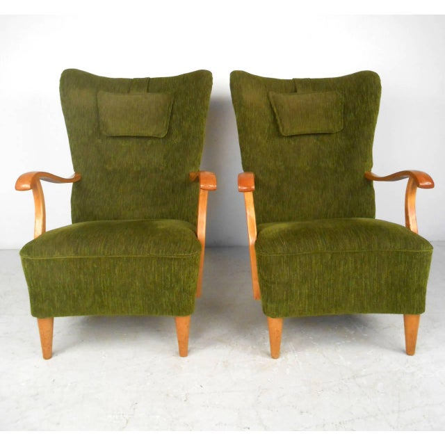 Mid-Century Modern High Back Lounge Chairs - A Pair For Sale - Image 11 of 11