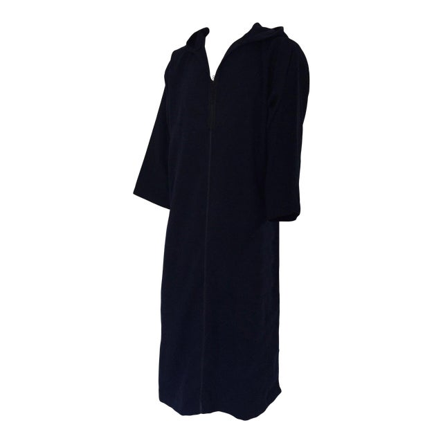 Moroccan Gentleman Hooded Blue Wool Djellaba For Sale