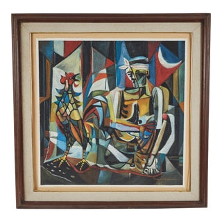 "Modern Cubist ""Boy With Rooster"" Oil Painting on Canvas For Sale"