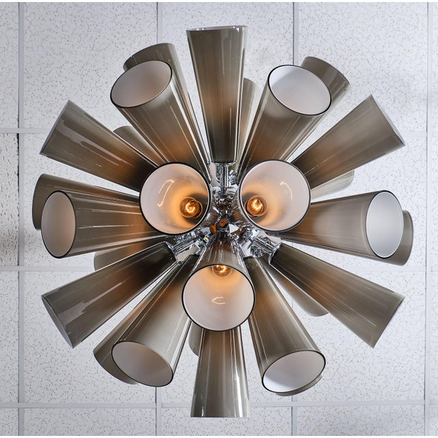 Murano Glass Gray Sputnik Chandelier For Sale - Image 9 of 10