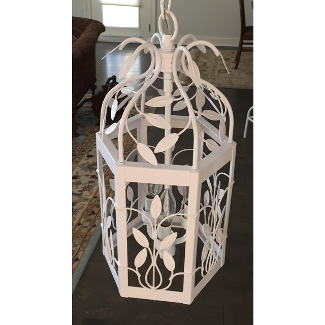 Vintage White Hexagon Light Fixture - Image 3 of 11