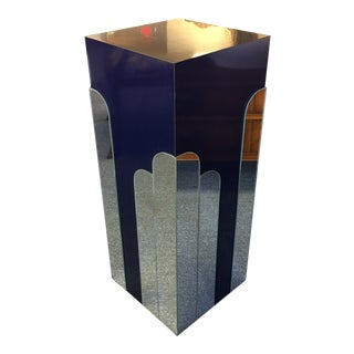 1960s Vintage Deco Style Mirrored Navy Pedestal For Sale