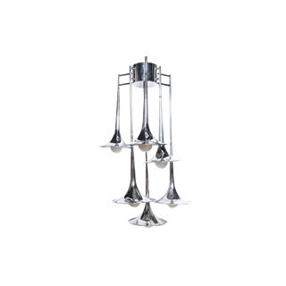 Italian Reggiani Six-Tiered Chrome Trumpet Chandelier For Sale