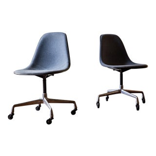 Eames Herman Miller Swivel Base Shell Chairs - A Pair For Sale
