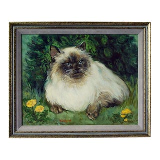 Vintage Cat Oil Painting For Sale