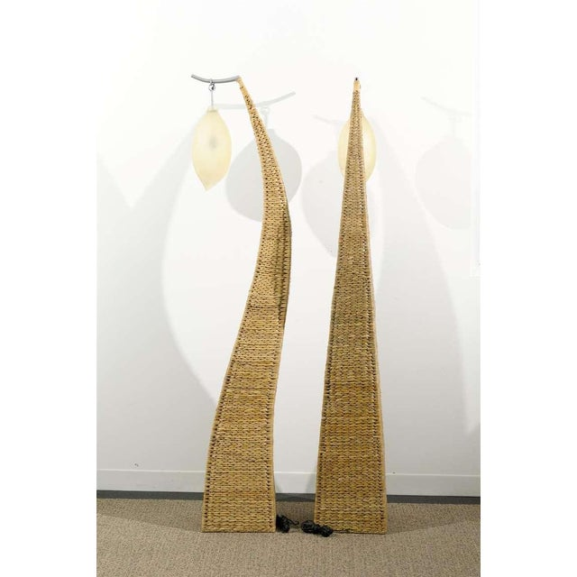 1980s Fantastic Pair of Giant Raffia Floor Lamps For Sale - Image 5 of 10