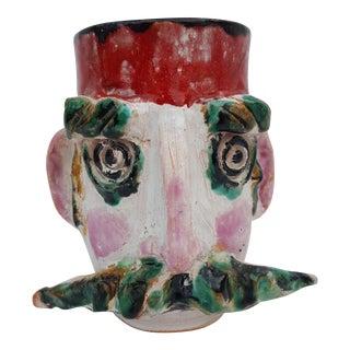 1986 Man Head Decorative Ceramic Vase .