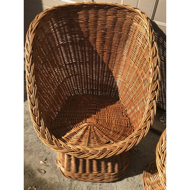 1960s 1960's Vintage Wicker Scoop Chairs & Cushions - A Pair For Sale - Image 5 of 8