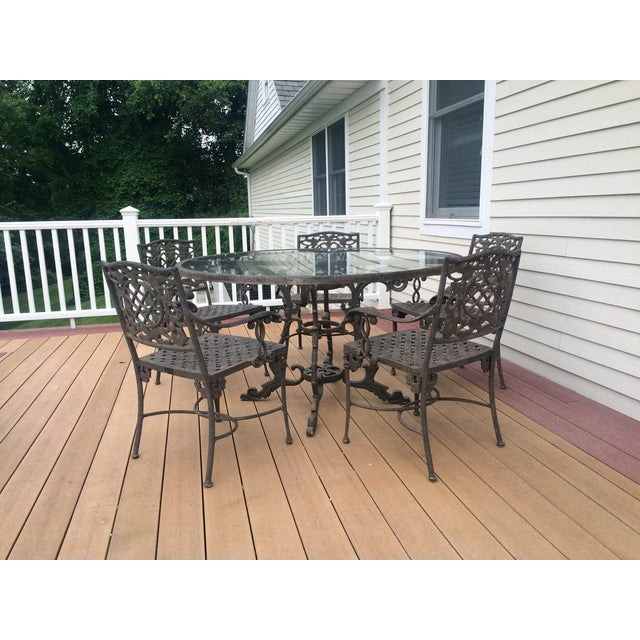 Cast Classics Outdoor Table & Arm Chairs - Set of 6 - Image 10 of 11