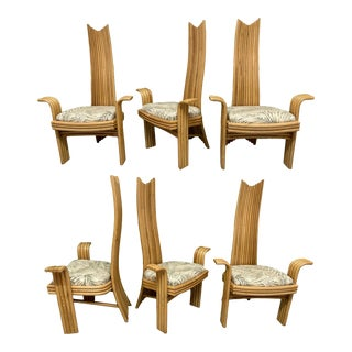 High Back Rattan Dining Chairs in the Style of Danny Ho Fong or Mackintosh For Sale