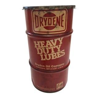 Vintage Industrial Metal Oil Barrel - Drydene For Sale