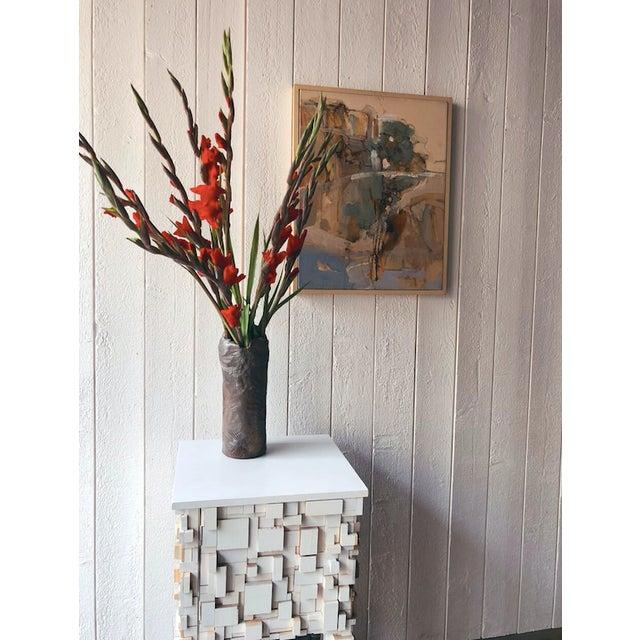 Black Tall Vintage Western Raku Imprint Abstract Vase For Sale - Image 8 of 9