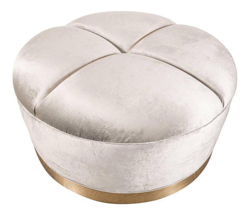 Mid Century Modern Ottoman In Platinum Velvet Upholstery U0026 Wrapped Brass  Base