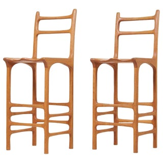Pair of Tall Back Studio Bar Stools, Us, 1970s For Sale
