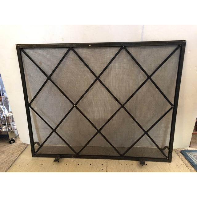 Mid-Century Modern Handsome Large Fireplace Screen For Sale - Image 3 of 11