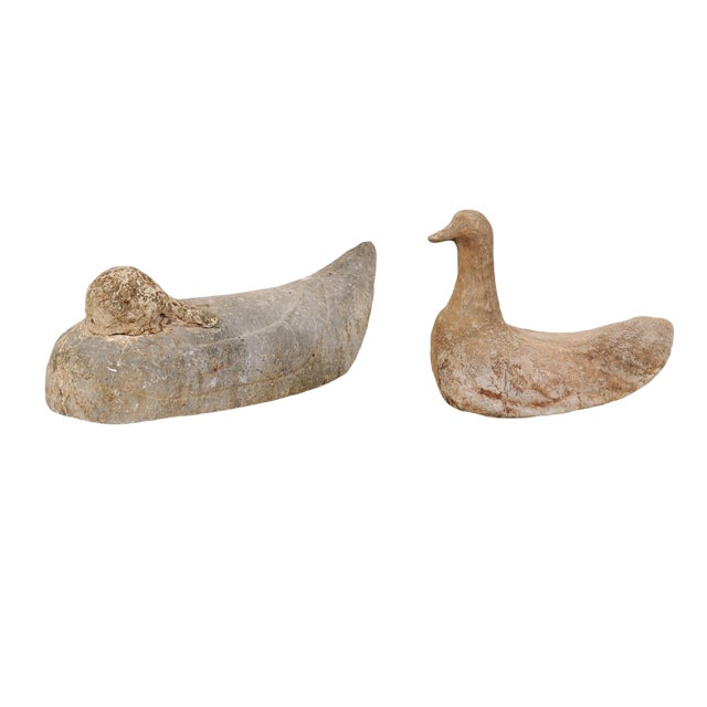 Pair of 19th Century French Carved Stone Ducks For Sale