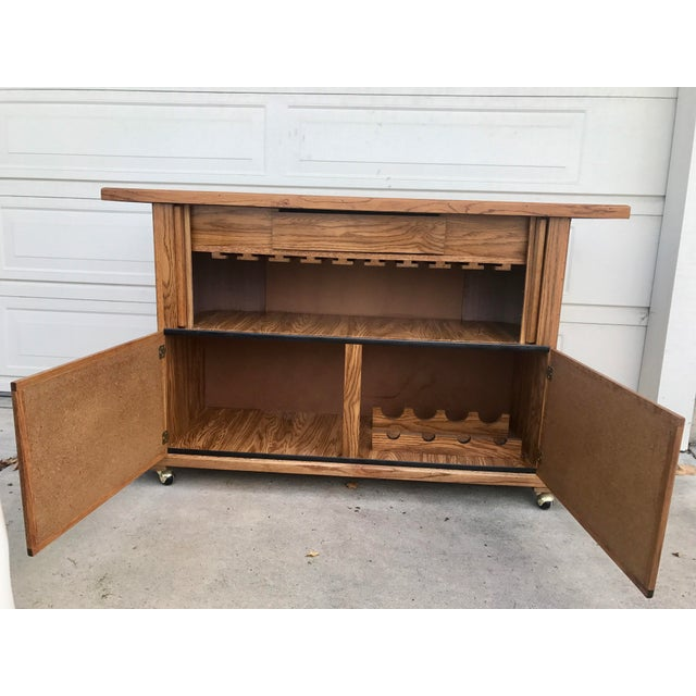 Vintage 1960s Rolling Dry Bar with Tambour Doors - Image 3 of 9