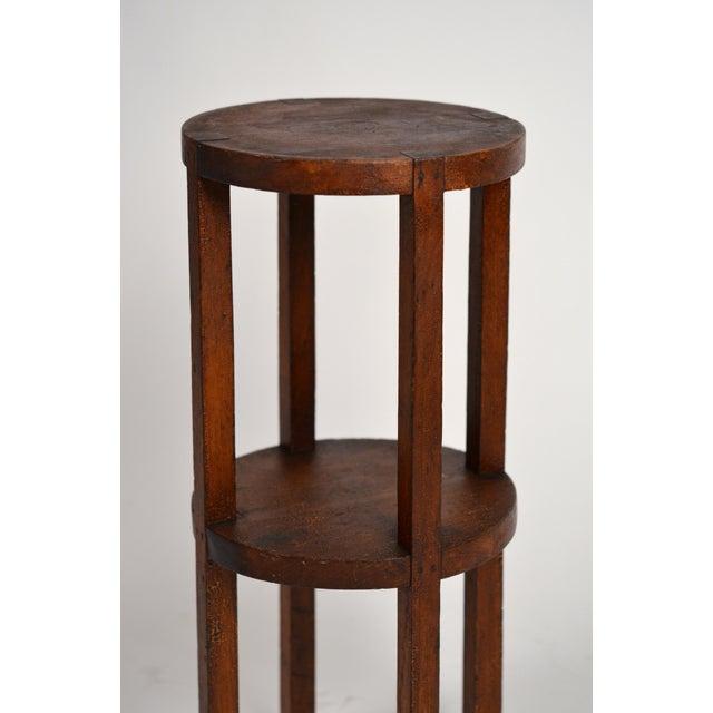 Slender American Arts & Crafts Oak Sellette Side Table For Sale In Los Angeles - Image 6 of 7