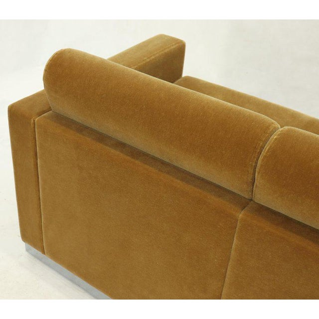 1980s Mohair Loveseat on High Polish Stainless Steel Base Ward Bennet for Brickel For Sale - Image 5 of 12