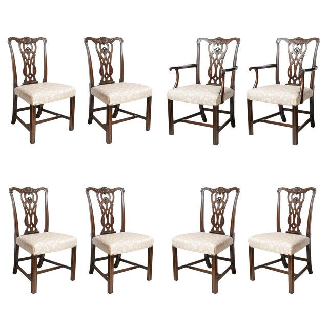 Set of 8 Chippendale Style Dining Chairs For Sale