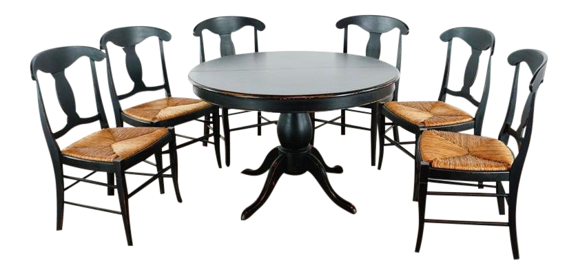 crate barrel 6 chair dining set 7 pieces chairish rh chairish com 6 chair dining set sale 6 chair glass dining table set