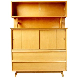 Mid-Century Modern Baumritter Sculptural Maple Hutch Display Cabinet, Circa 1955