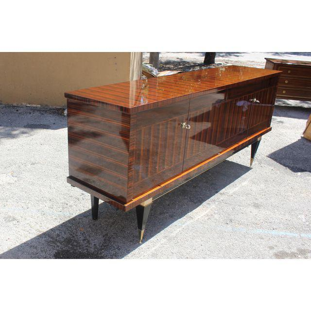 Art Deco Classic French Art Deco Macassar Ebony Sideboard / Credenza / Buffet Circa 1940s For Sale - Image 3 of 13