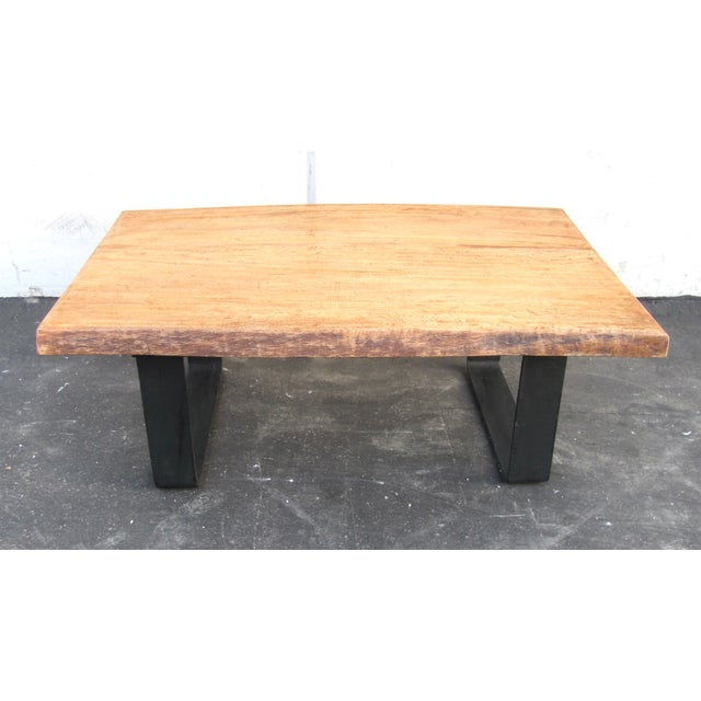 Contemporary Minimalist Natural Wood Slab Coffee Table For Sale - Image 3 of 6