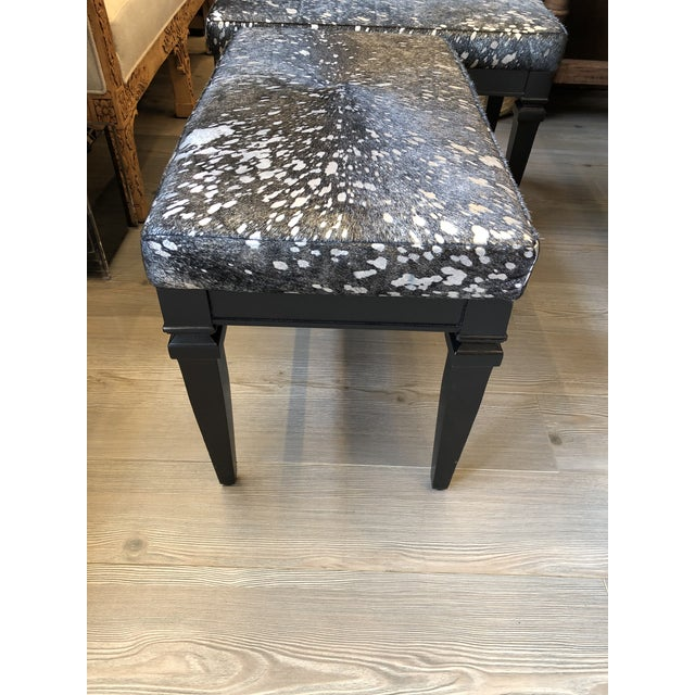 Vintage Black Bench With Silver Splatter Hide Upholstery For Sale In Los Angeles - Image 6 of 7