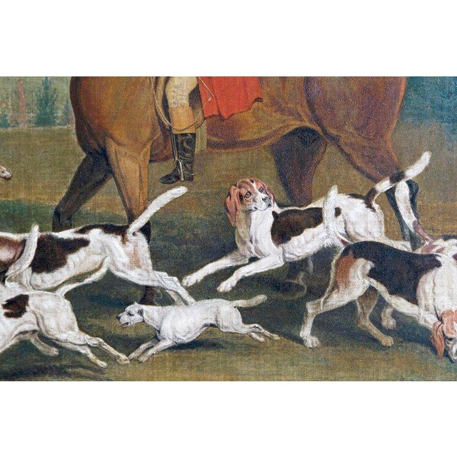 Blue 19th Century Oil on Canvas English Hunting Scene of Rider on Horse With Hounds For Sale - Image 8 of 13