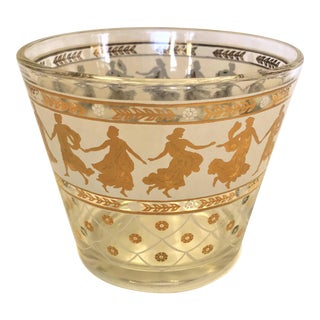 Mid-Century Modern Ice Bucket With Gold Dancing Roman Goddesses For Sale