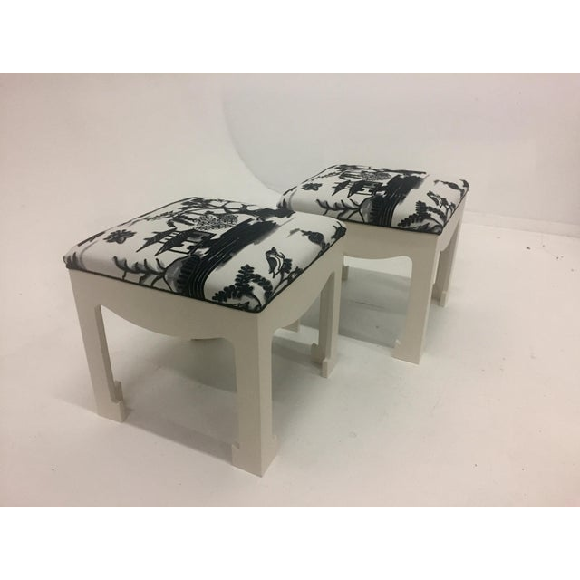 1970s Vintage Hollywood Regency Ottomans- A Pair For Sale - Image 13 of 13