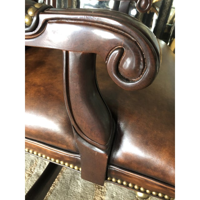 Wood Tufted Swivel Leather and Wood Desk Chair For Sale - Image 7 of 12