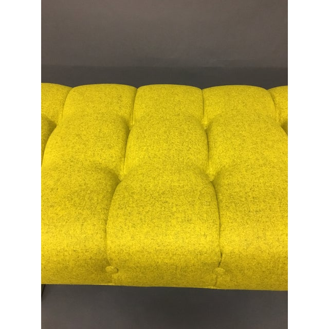 Mid-Century Modern Bright Yellow Tufted Bench on Brass Base For Sale - Image 5 of 11