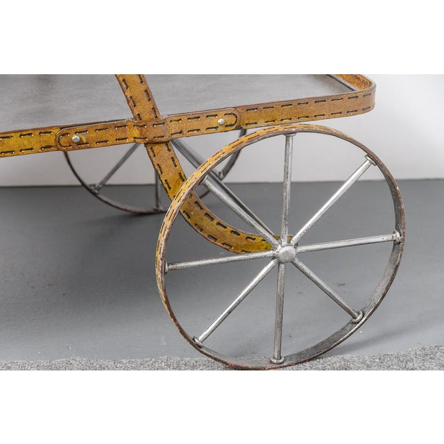 Mid-Century Faux Leather Iron Two tTier Bar Cart, Rare For Sale - Image 9 of 13