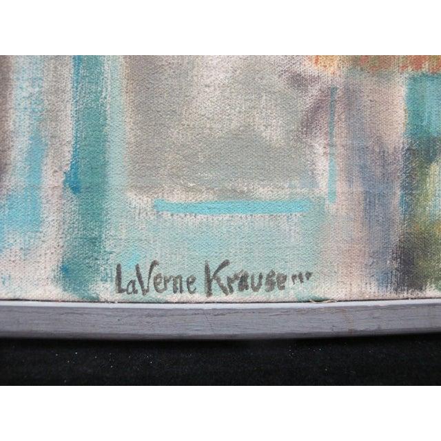 LaVerne Krause (Portland, Oregon, 1924) oil on canvas painting, 1957, titled Coeur D'Alene Building. The Coeur D'Alene...