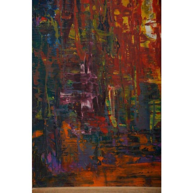 """For your consideration a vintage abstract painting singed with the initials """"K A"""" in the lower right corner. Oil in..."""