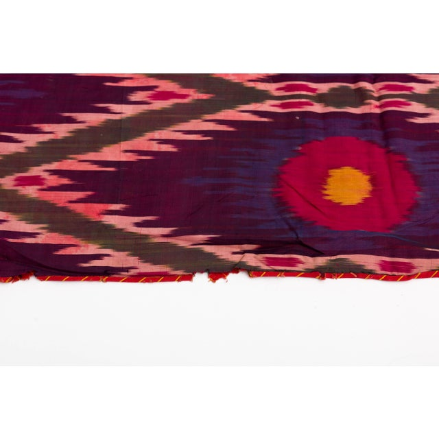 Late 19th Century Late 19th Century Uzbekistan Tribal Silk Ikat Panel For Sale - Image 5 of 11