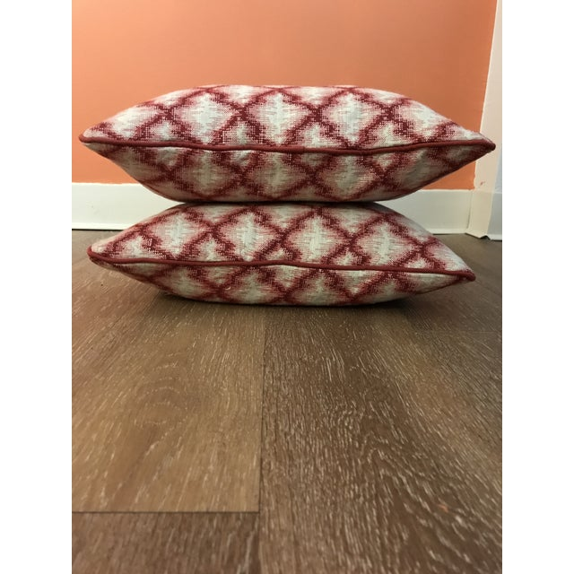2020s Cranberry Red Trend Forward Throw Pillows - a Pair For Sale - Image 5 of 6
