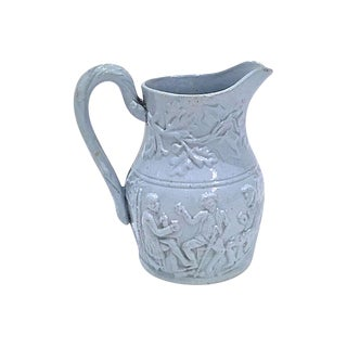 Antique Bas-Relief Tavern Scene Pitcher For Sale