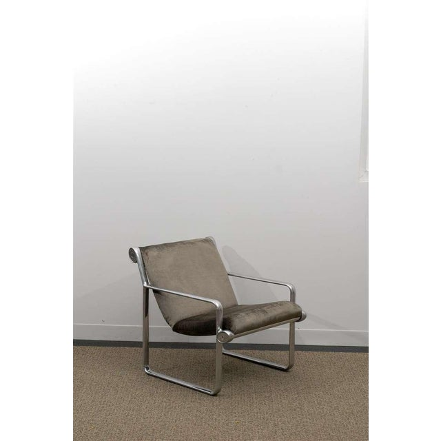 Rare Pair of Aluminum Lounge/Club Chairs by Hannah/Morrison for Knoll For Sale - Image 10 of 11