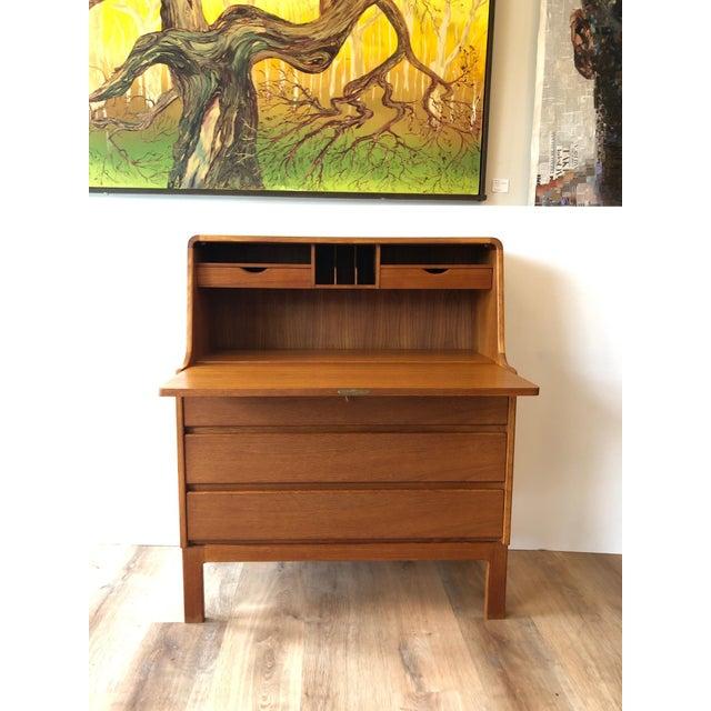Vintage Danish Modern Teak Drop Leaf Secretary Desk For Sale - Image 4 of 11