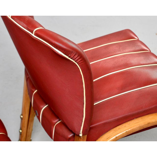 Metal Italian Mid Century Bentwood Dining Chairs With Original Red Vinyl Upholstery - Set of 6 For Sale - Image 7 of 13
