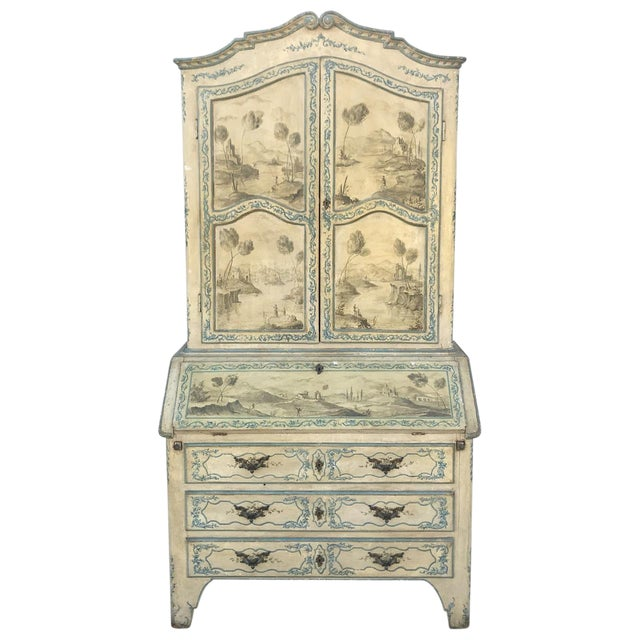 Mid 18th Century Antique Italian Painted Secretary Desk For Sale